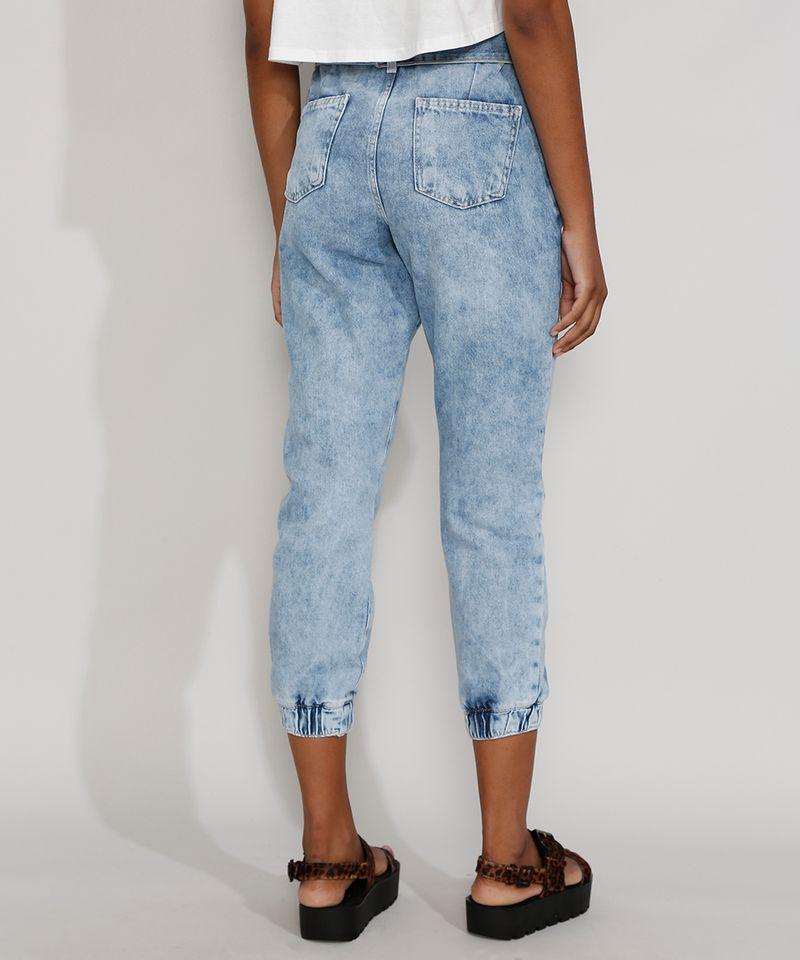 Calca-Jeans-Feminina-Cintura-Alta-Jogger-Marmorizada-com-Cinto-Azul-Claro-9982170-Azul_Claro_2