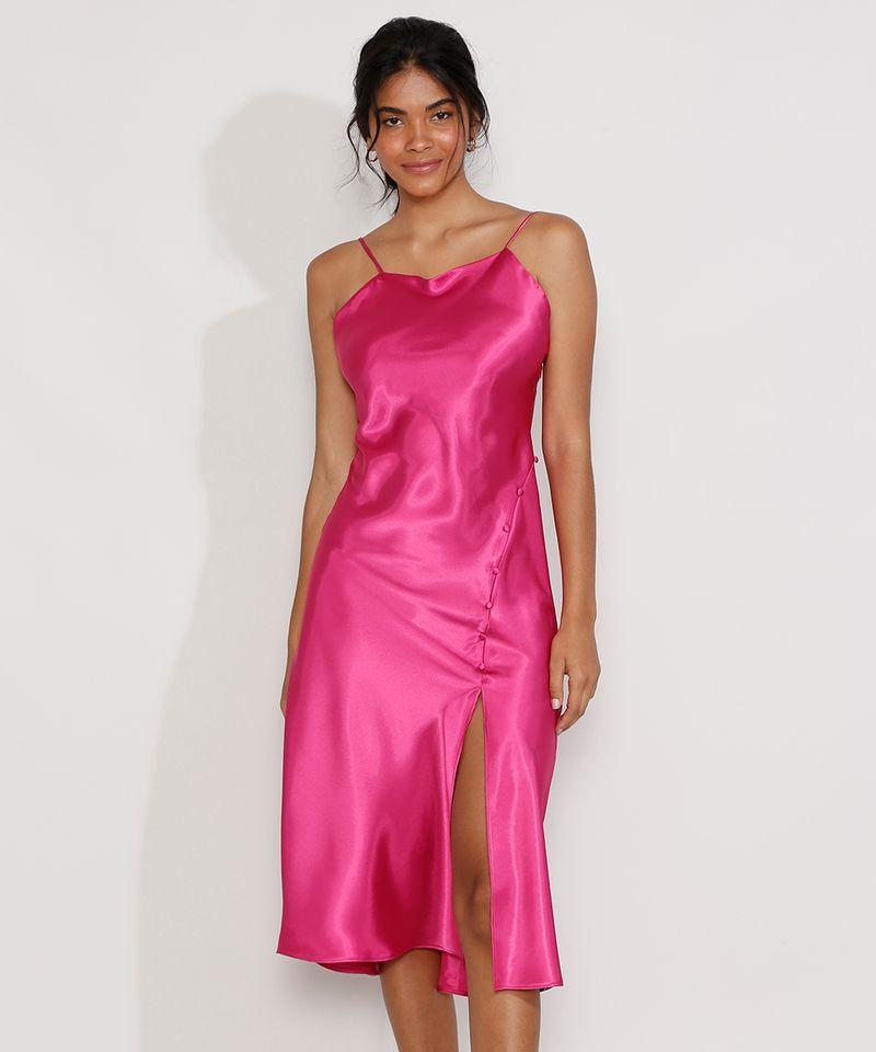 Vestido-Slip-Dress-Feminino-Midi-Acetinado-com-Fenda-Alca-Fina-Rosa-Escuro-9984267-Rosa_Escuro_1