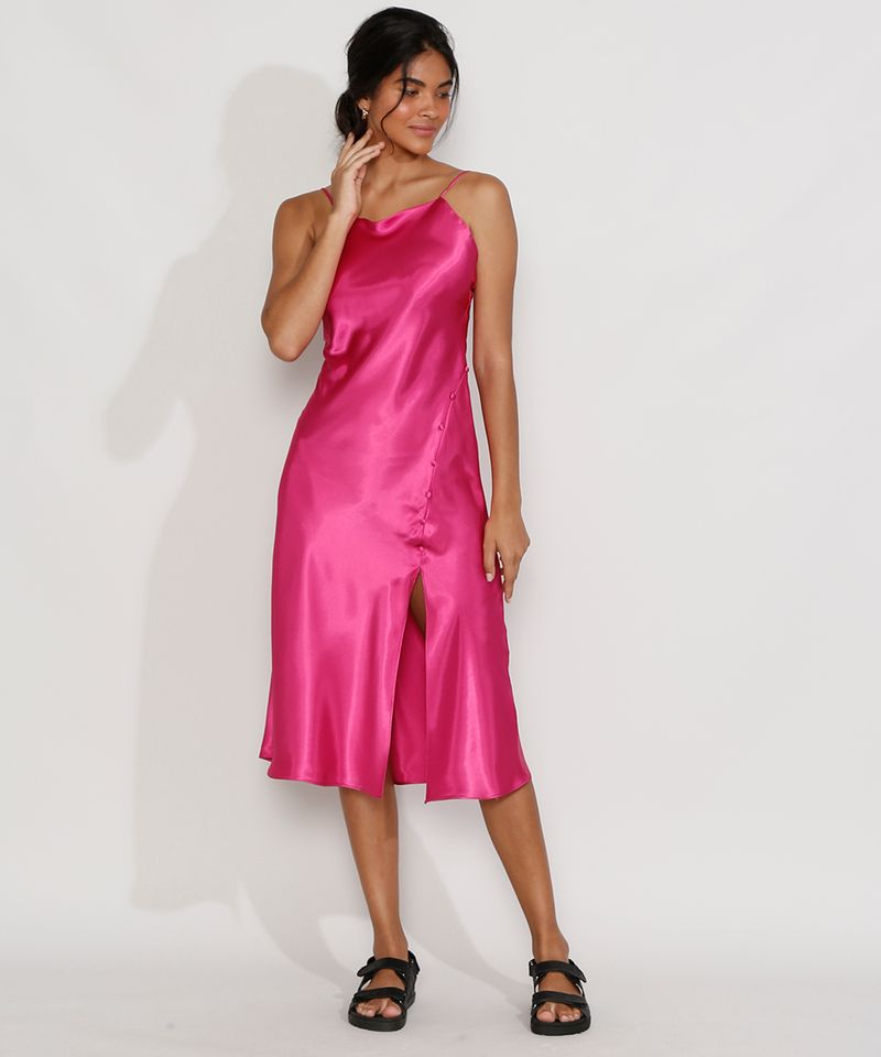 Vestido-Slip-Dress-Feminino-Midi-Acetinado-com-Fenda-Alca-Fina-Rosa-Escuro-9984267-Rosa_Escuro_3