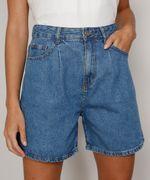 Bermuda-Jeans-Feminina-Cintura-Super-Alta-com-Pregas-Azul-Medio-9982408-Azul_Medio_1
