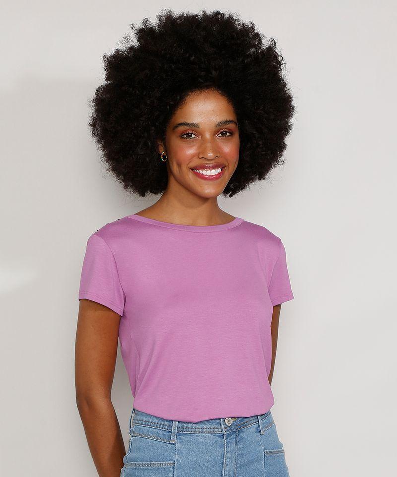 Camiseta-Feminina-Manga-Curta-Basica-com-Botoes-Decote-Redondo-Lilas-9717261-Lilas_1