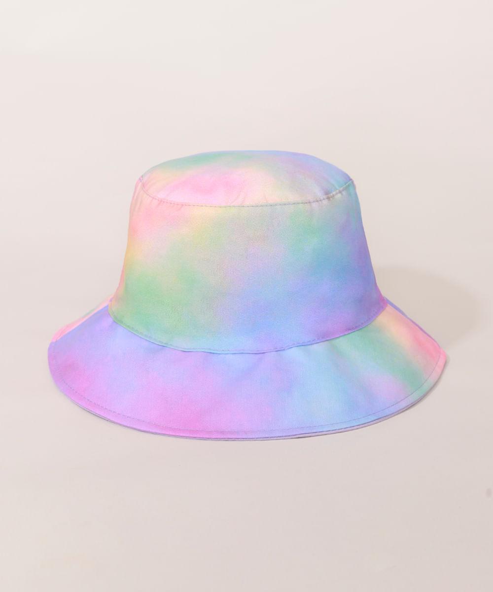 <em>Bucket hat</em> feminino dupla face estampado <em>tie dye</em>, da C&A