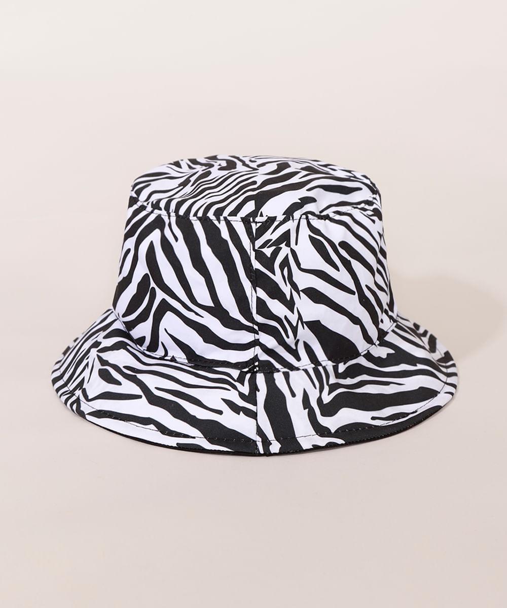 <em>Bucket hat</em> feminino dupla face com estampa de zebra, da C&A