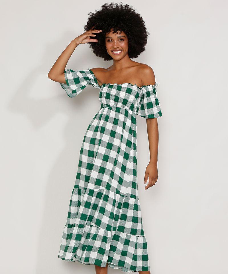Vestido-Feminino-Midi-Ombro-a-Ombro-Estampado-Xadrez-Vichy-com-Lastex-e-Recortes-Manga-Curta-Verde-9986319-Verde_1