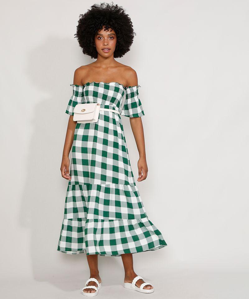 Vestido-Feminino-Midi-Ombro-a-Ombro-Estampado-Xadrez-Vichy-com-Lastex-e-Recortes-Manga-Curta-Verde-9986319-Verde_3