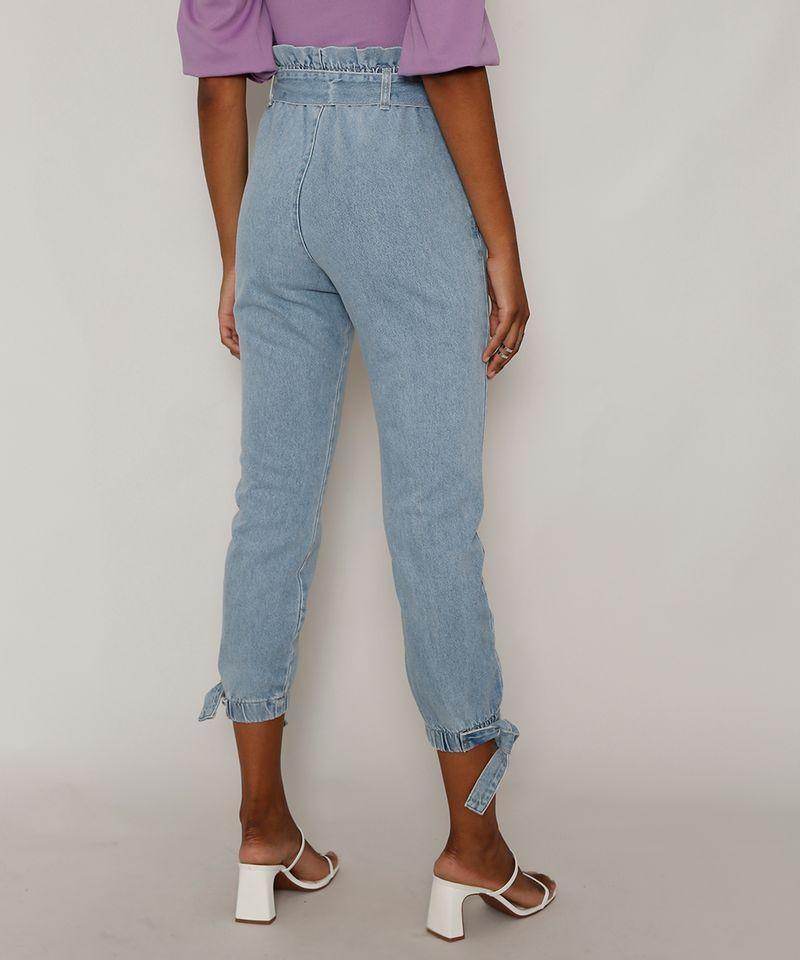Calca-Jeans-Feminina-Jogger-Cintura-Super-Alta-com-Recortes-e-Faixa-para-Amarrar-Azul-Claro-9985957-Azul_Claro_2