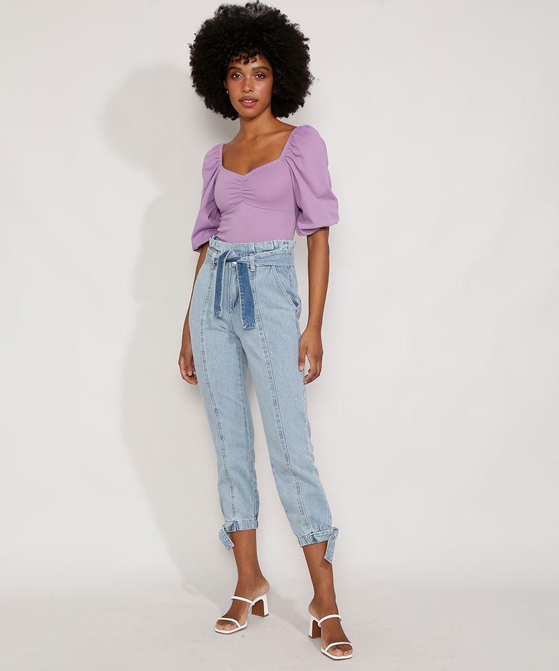 Calca-Jeans-Feminina-Jogger-Cintura-Super-Alta-com-Recortes-e-Faixa-para-Amarrar-Azul-Claro-9985957-Azul_Claro_3