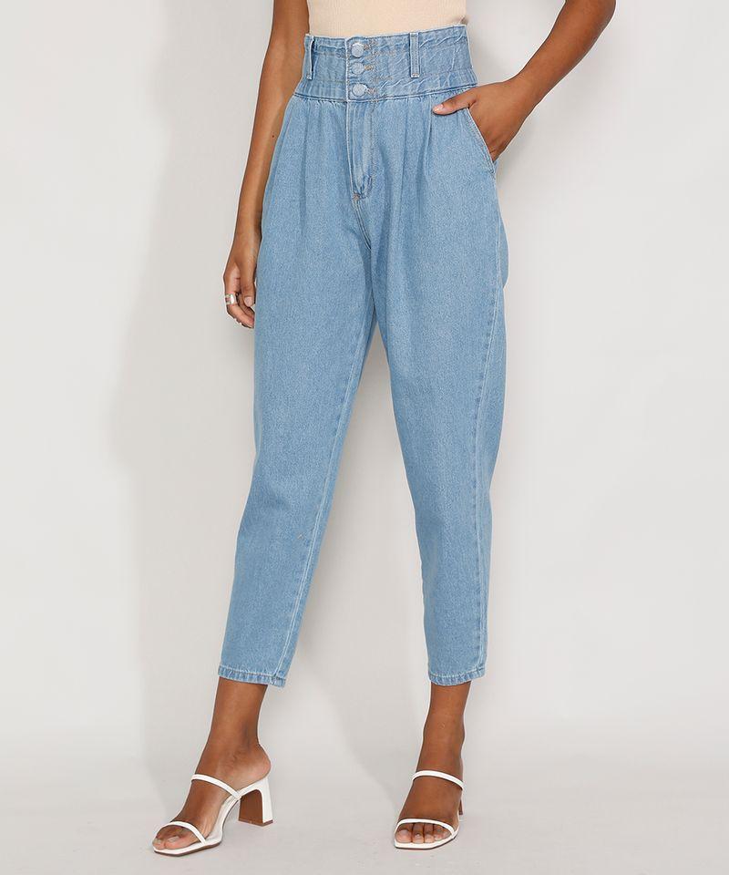 Calca-Jeans-Feminina-Sawary-Cintura-Super-Alta-com-Franzidos-Azul-Claro-9983852-Azul_Claro_1