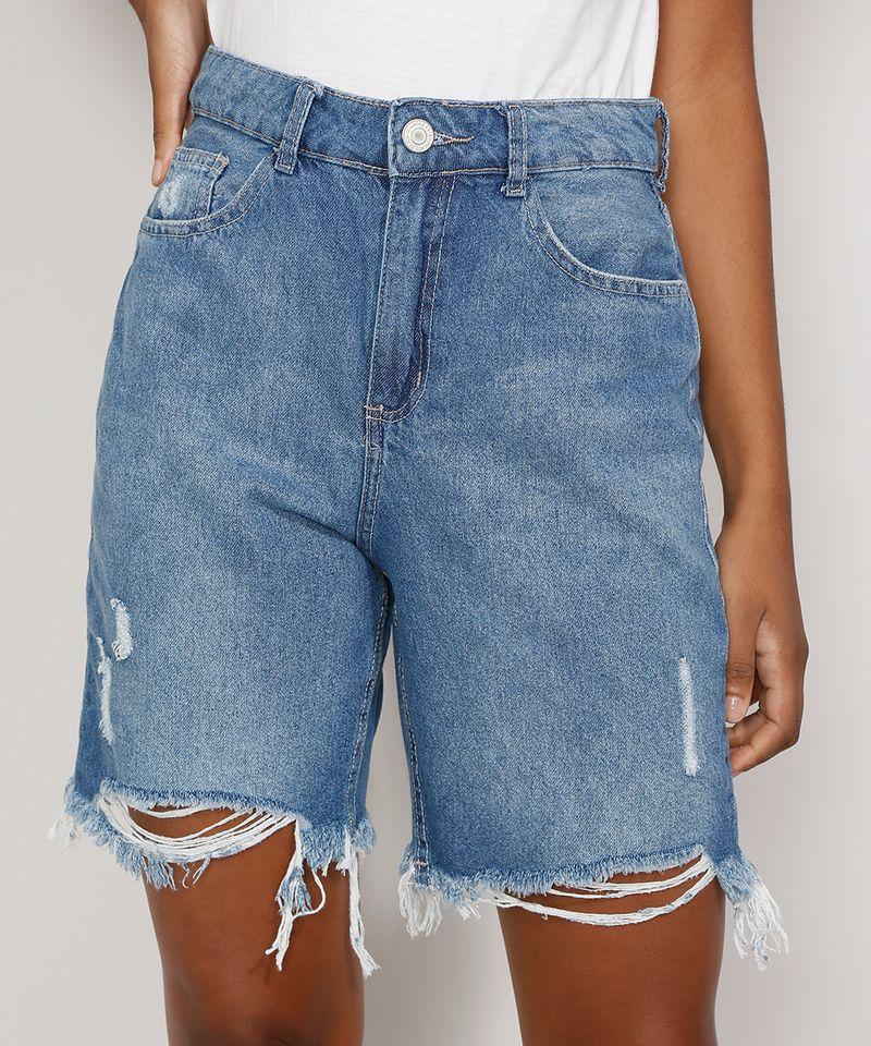 Bermuda-Jeans-Feminina-Cintura-Alta-Destroyed-Azul-Medio-9985655-Azul_Medio_1