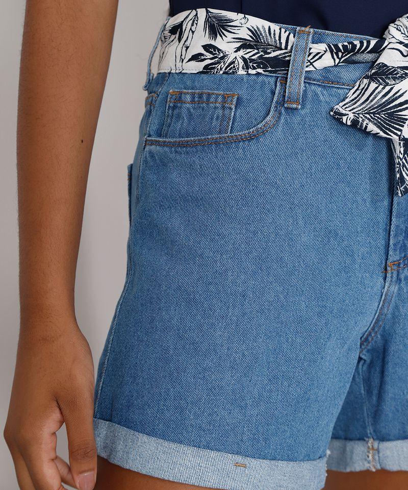 Short-Jeans-Feminino-Midi-Cintura-Alta-com-Lenco-Estampado-Azul-Claro-9982917-Azul_Claro_6