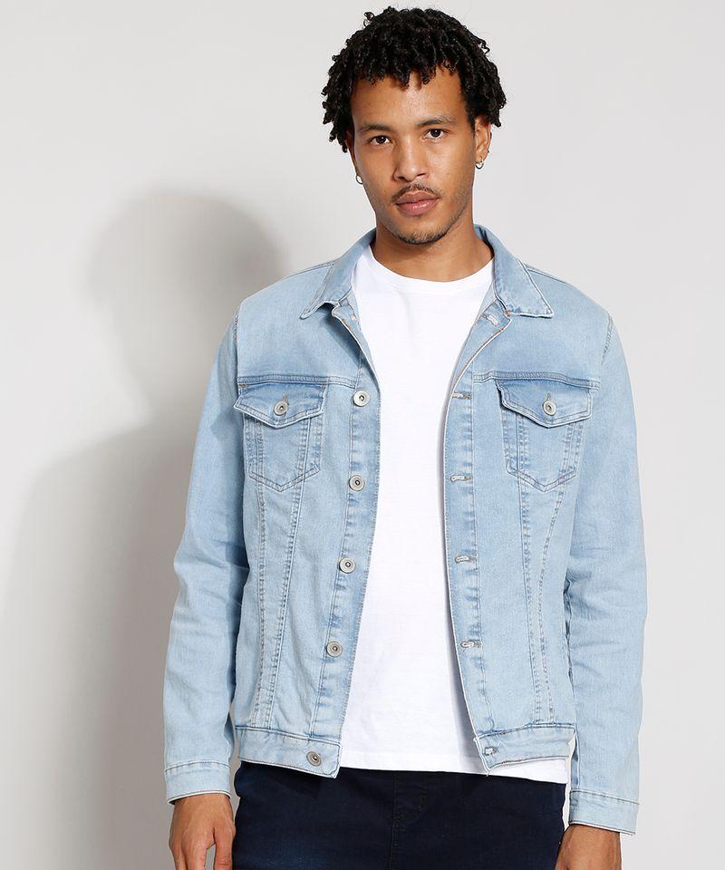 Jaqueta-Jeans-Masculina-Trucker-com-Bolsos-e-Botoes-Azul-Claro-9976766-Azul_Claro_1