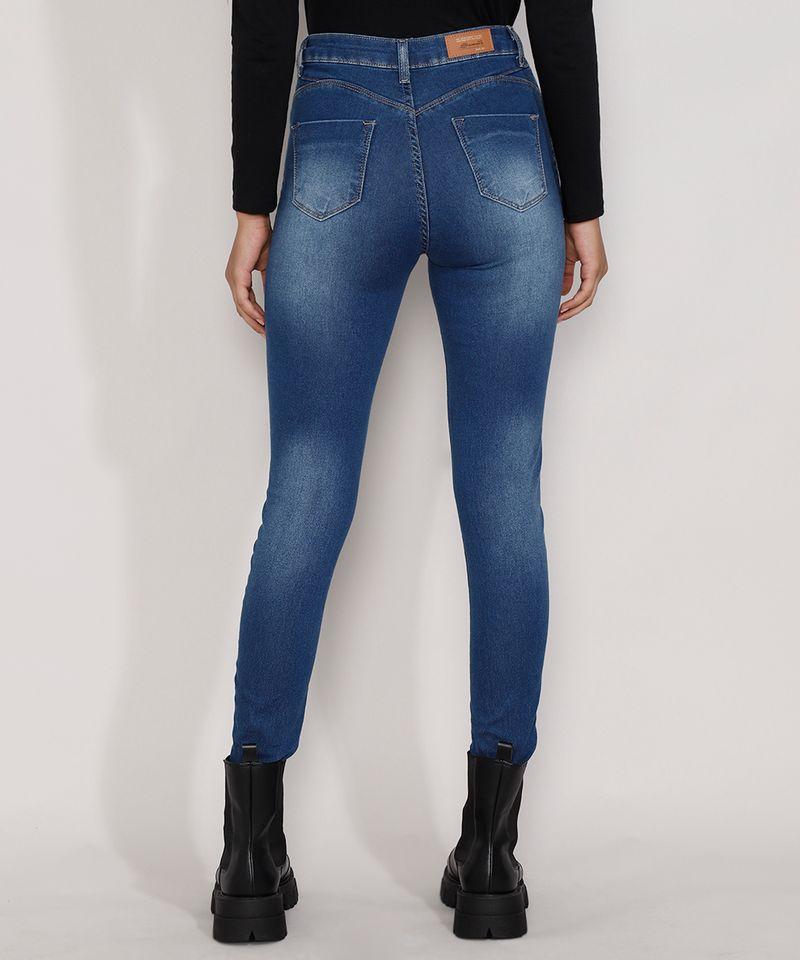 Calca-Jeans-Feminina-Cintura-Alta-Sawary-Cigarrete-Push-Up-com-Barra-Degrau-Azul-Escuro-9984358-Azul_Escuro_2