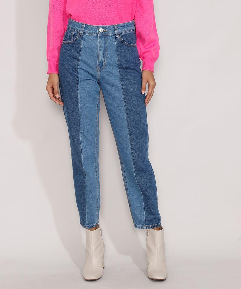 Calca-Jeans-Feminina-Mom-Cintura-Super-Alta-com-Recortes-Azul-Medio-9985623-Azul_Medio_1