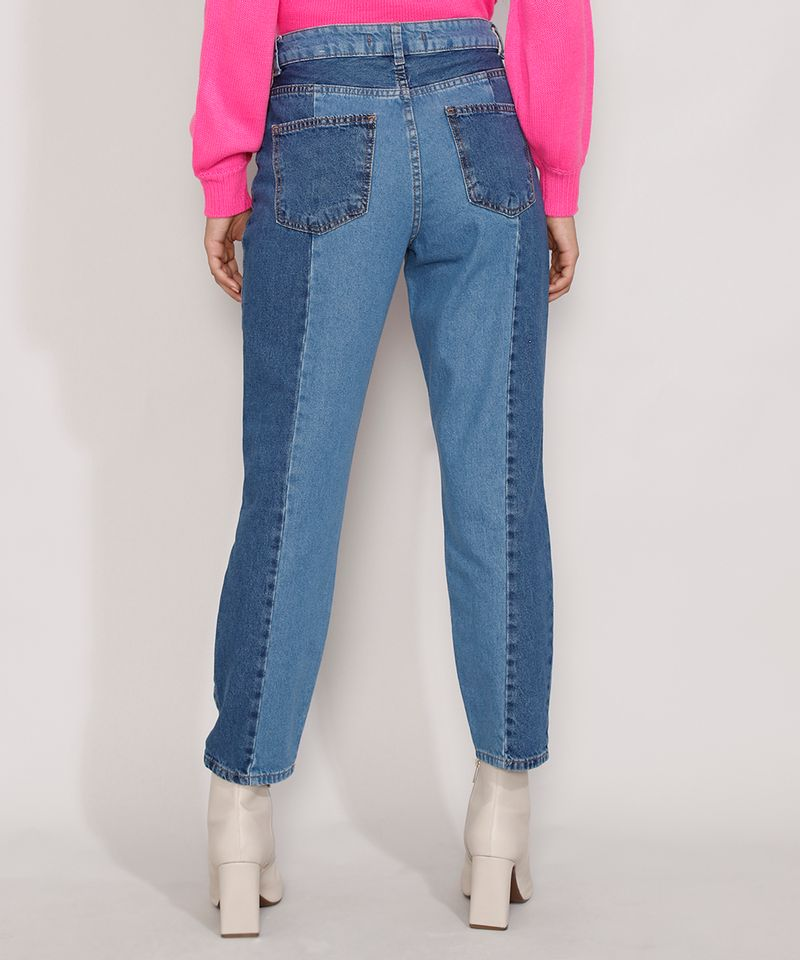 Calca-Jeans-Feminina-Mom-Cintura-Super-Alta-com-Recortes-Azul-Medio-9985623-Azul_Medio_2