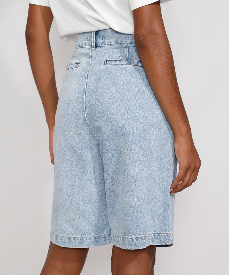 Bermuda-Jeans-Feminina-Mindset-Cintura-Alta-com-Pregas-Azul-Claro-9991000-Azul_Claro_2
