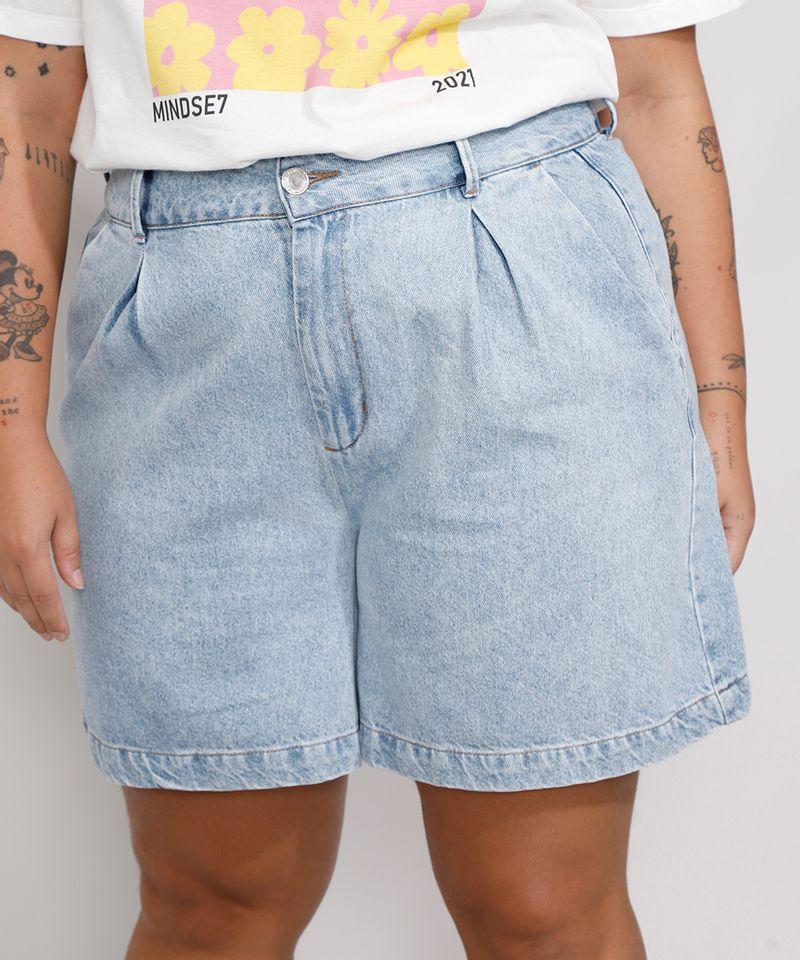 Bermuda-Jeans-Feminina-Plus-Size-Mindset-Cintura-Alta-com-Pregas-Azul-Claro-9991001-Azul_Claro_1