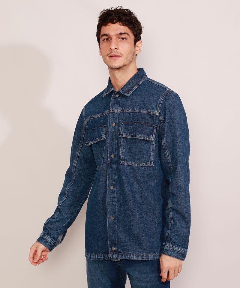 Jaqueta-Jeans-Masculina-Longa-com-Recorte-e-Bolsos-Azul-Escuro-9981196-Azul_Escuro_1