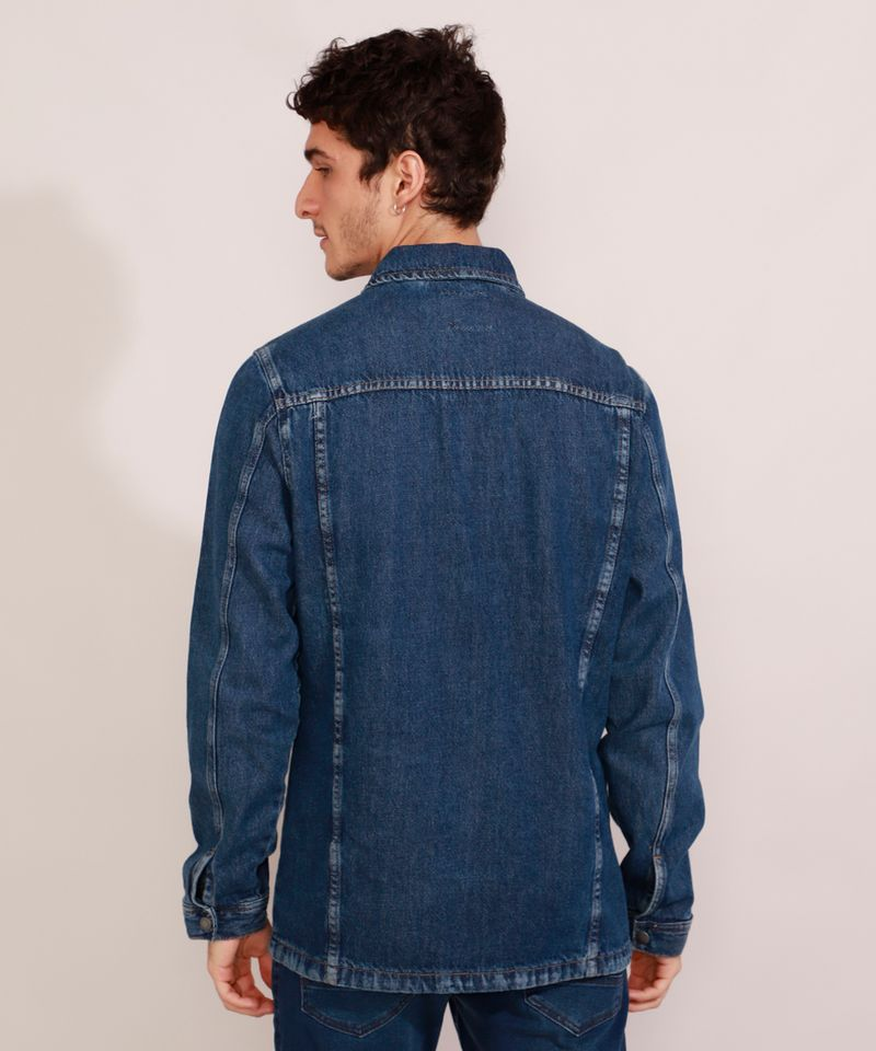 Jaqueta-Jeans-Masculina-Longa-com-Recorte-e-Bolsos-Azul-Escuro-9981196-Azul_Escuro_2