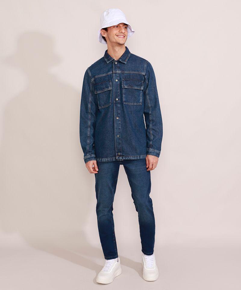 Jaqueta-Jeans-Masculina-Longa-com-Recorte-e-Bolsos-Azul-Escuro-9981196-Azul_Escuro_3