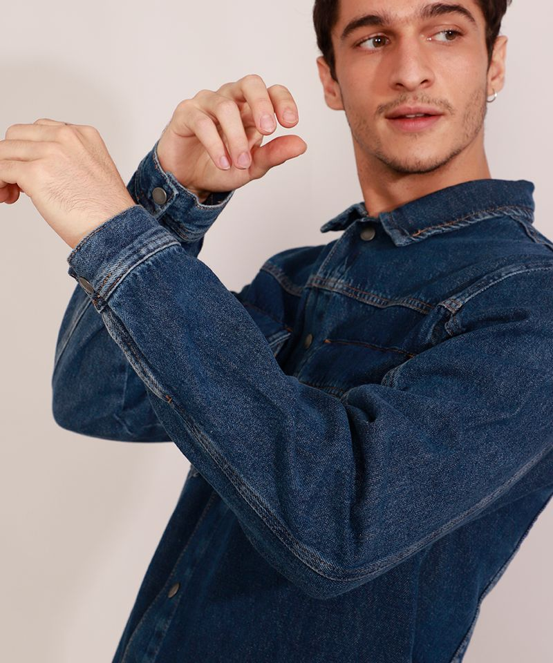 Jaqueta-Jeans-Masculina-Longa-com-Recorte-e-Bolsos-Azul-Escuro-9981196-Azul_Escuro_4