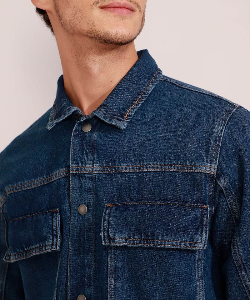 Jaqueta-Jeans-Masculina-Longa-com-Recorte-e-Bolsos-Azul-Escuro-9981196-Azul_Escuro_5