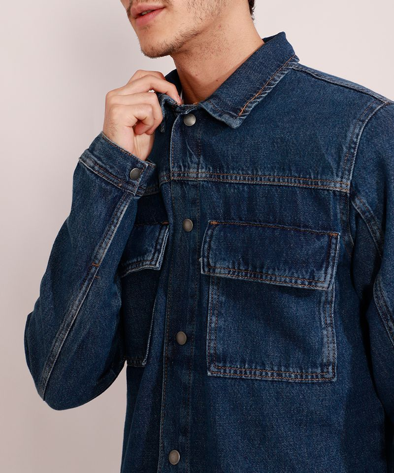 Jaqueta-Jeans-Masculina-Longa-com-Recorte-e-Bolsos-Azul-Escuro-9981196-Azul_Escuro_6