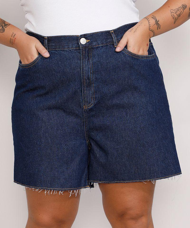 Short-Jeans-Feminino-Plus-Size-Mindset-Los-Angeles-Cintura-Alta-Azul-Escuro-9987769-Azul_Escuro_1