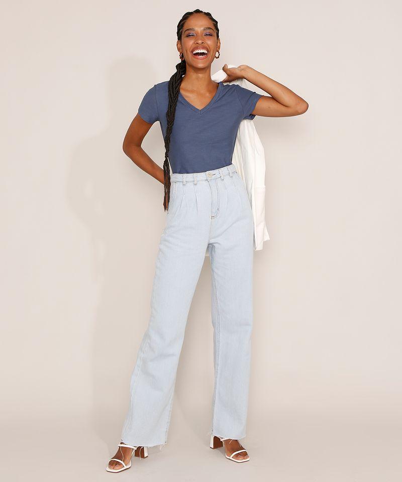 Camiseta-Feminina-Basica-Manga-Curta-Flame-Decote-V-Azul-1-8525926-Azul_1_3
