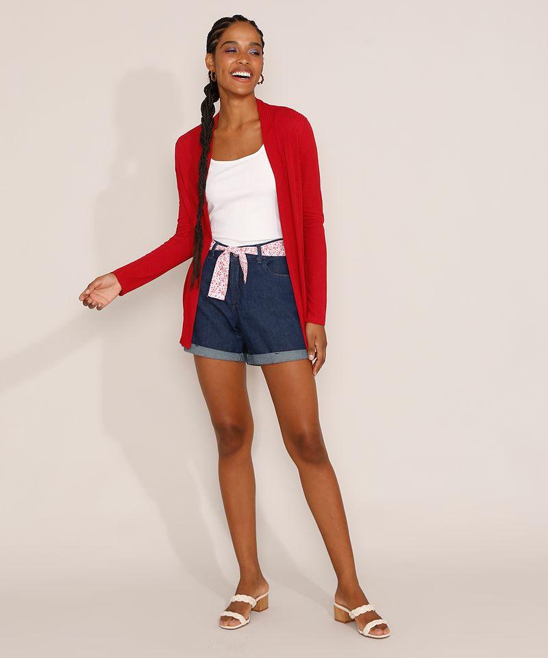 Short-Jeans-Feminino-Midi-Cintura-Media-com-Faixa-para-Amarrar-Estampada-Azul-Escuro-9982918-Azul_Escuro_3