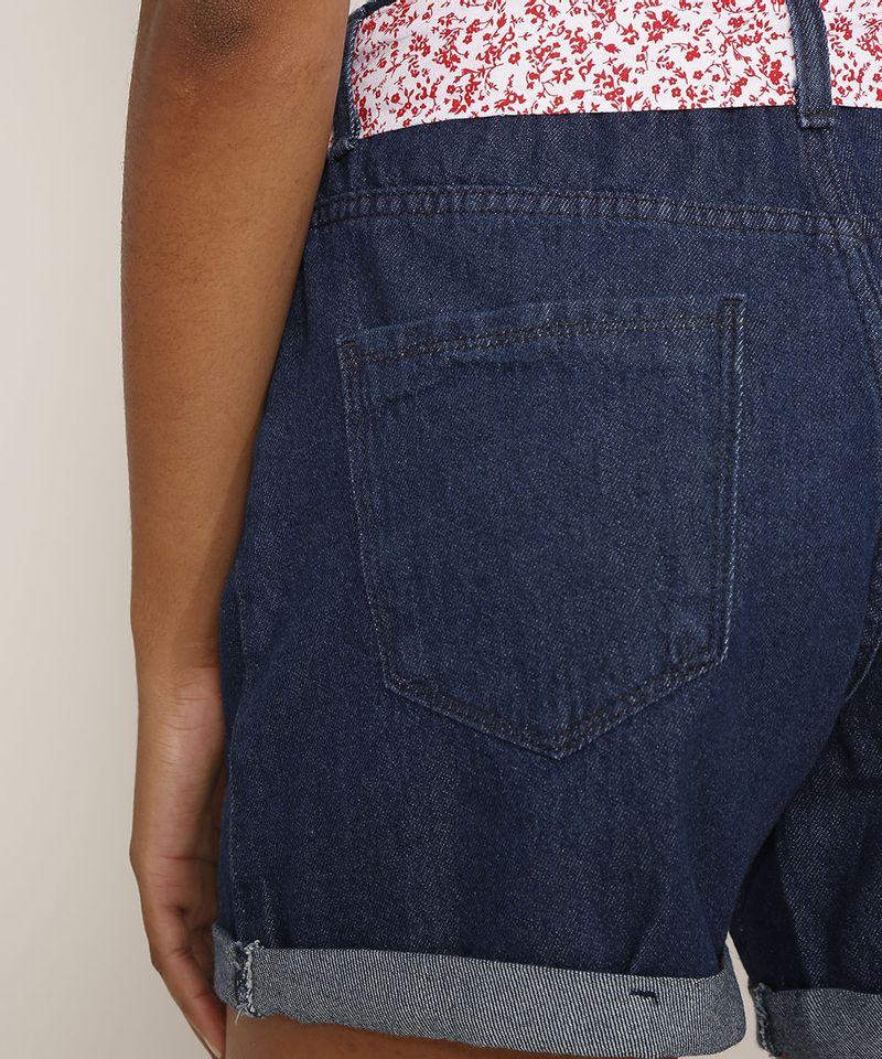 Short-Jeans-Feminino-Midi-Cintura-Media-com-Faixa-para-Amarrar-Estampada-Azul-Escuro-9982918-Azul_Escuro_5