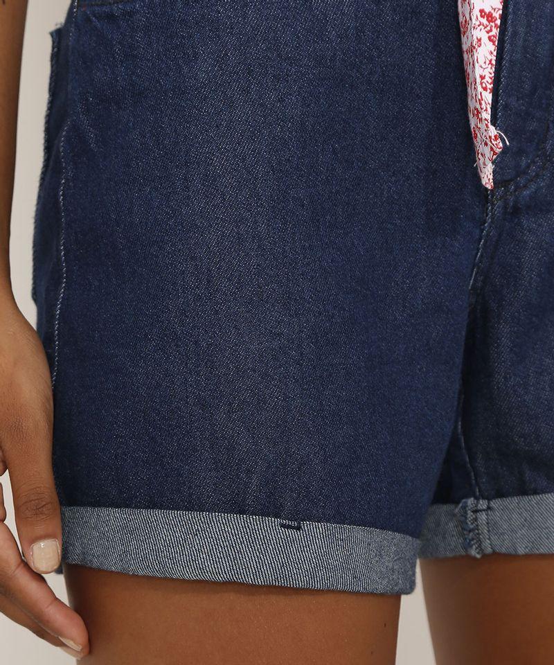 Short-Jeans-Feminino-Midi-Cintura-Media-com-Faixa-para-Amarrar-Estampada-Azul-Escuro-9982918-Azul_Escuro_6