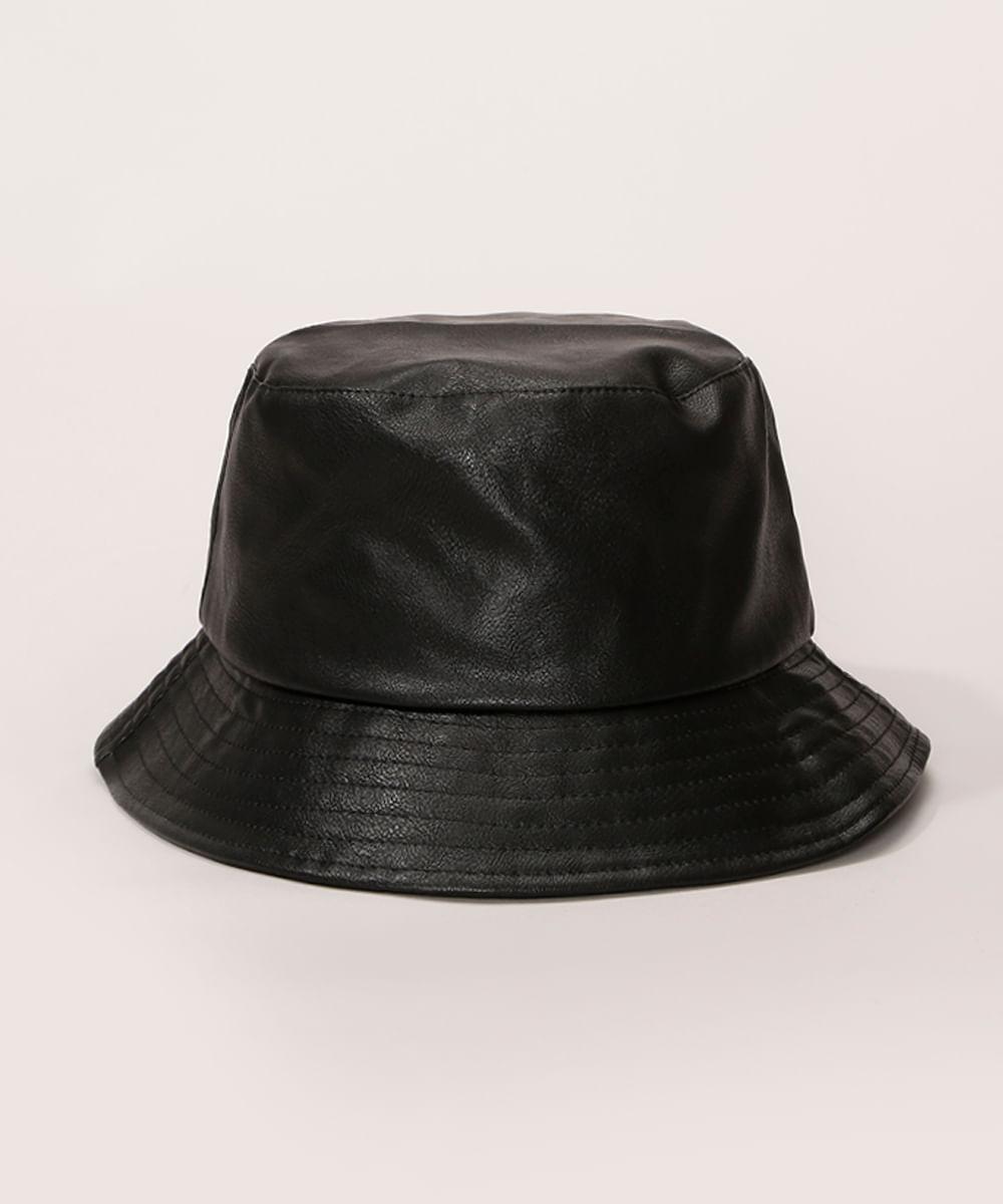 <em>Bucket hat</em> feminino com brilho preto, da C&A
