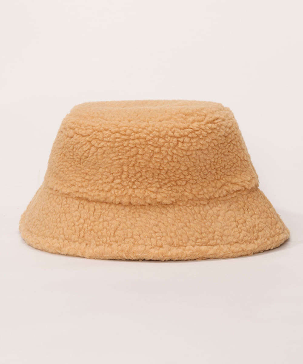 <em>Bucket hat</em> de pelo feminino bege, da C&A