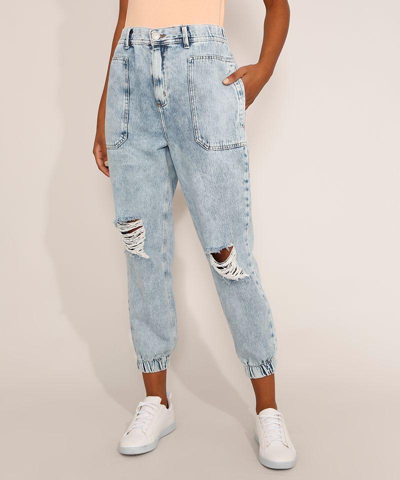 Calca-Jeans-Feminina-Jogger-Cintura-Super-Alta-Destroyed-Marmorizada-Azul-Claro-9978882-Azul_Claro_1