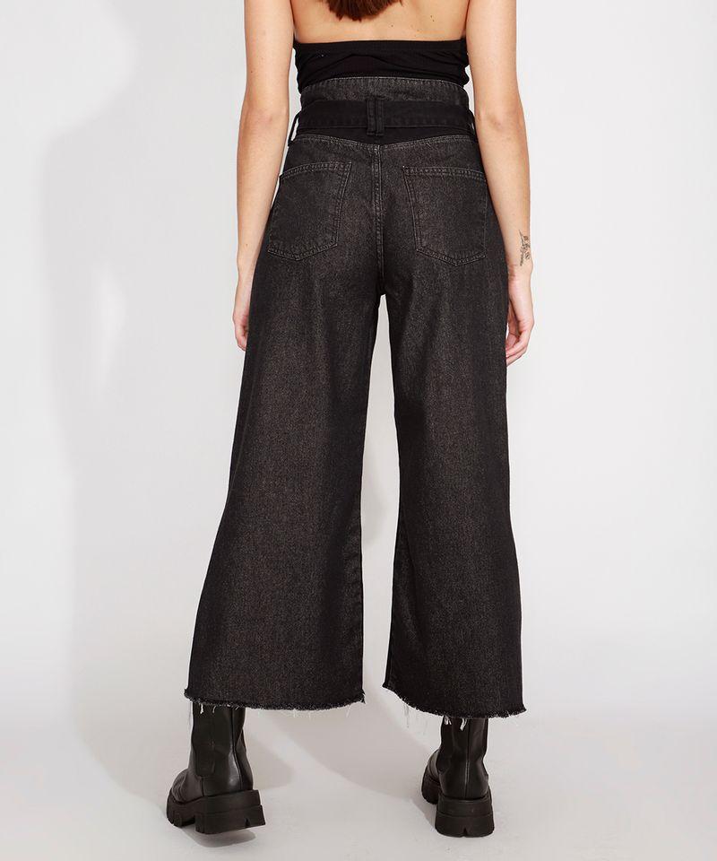 Calca-Wide-Cropped-Jeans-com-Recortes-e-Faixa-para-Amarrar-Cintura-Super-Alta-Preta-9988926-Preto_2