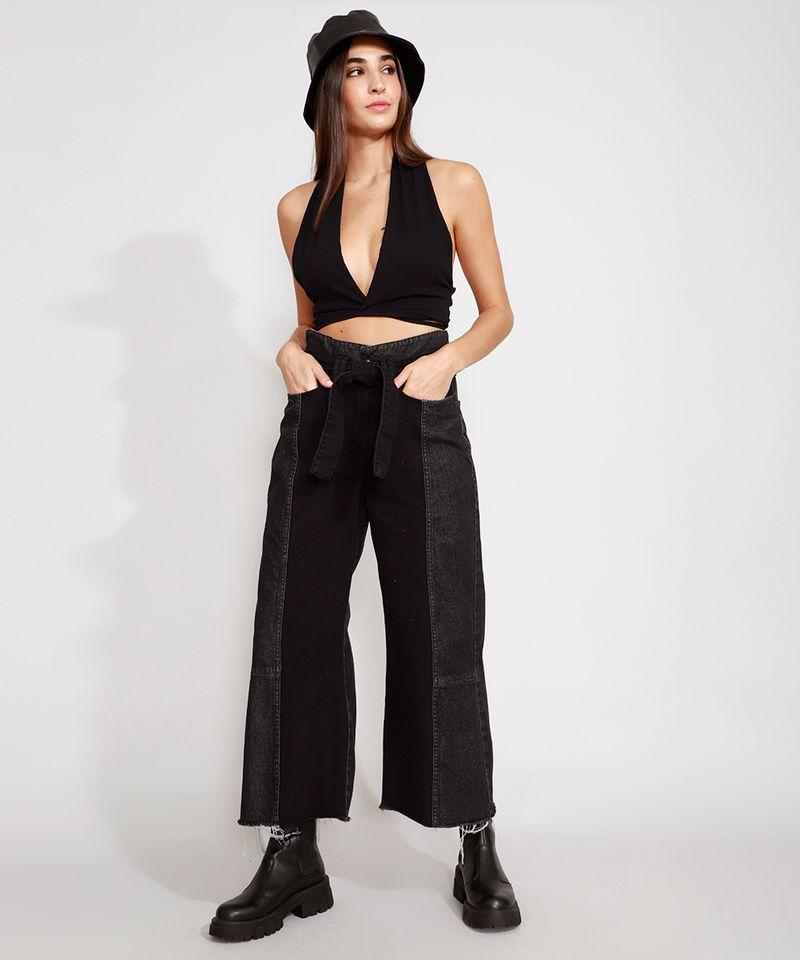 Calca-Wide-Cropped-Jeans-com-Recortes-e-Faixa-para-Amarrar-Cintura-Super-Alta-Preta-9988926-Preto_3