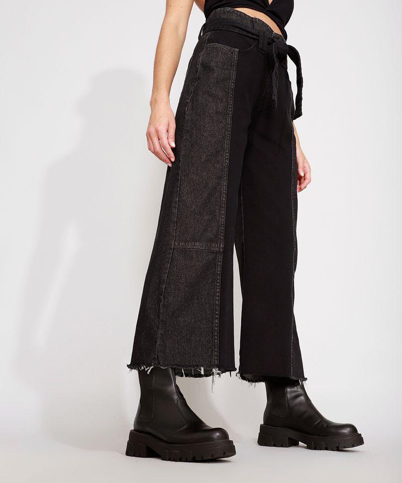 Calca-Wide-Cropped-Jeans-com-Recortes-e-Faixa-para-Amarrar-Cintura-Super-Alta-Preta-9988926-Preto_5
