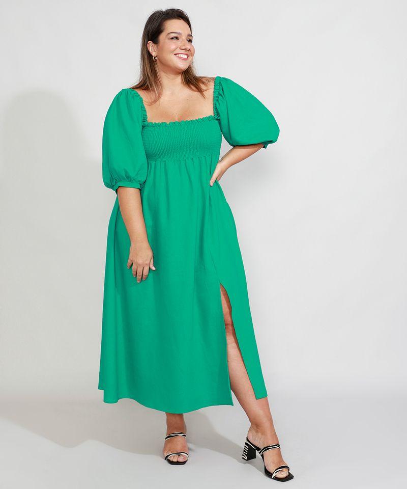 Vestido-de-Linho-com-Lastex-e-Fenda-Longo-Manga-Bufante-Mindset-Verde-9990352-Verde_1