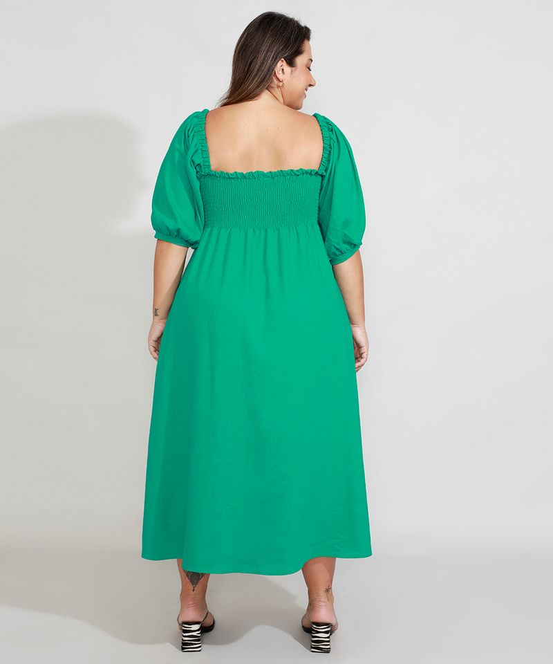 Vestido-de-Linho-com-Lastex-e-Fenda-Longo-Manga-Bufante-Mindset-Verde-9990352-Verde_2