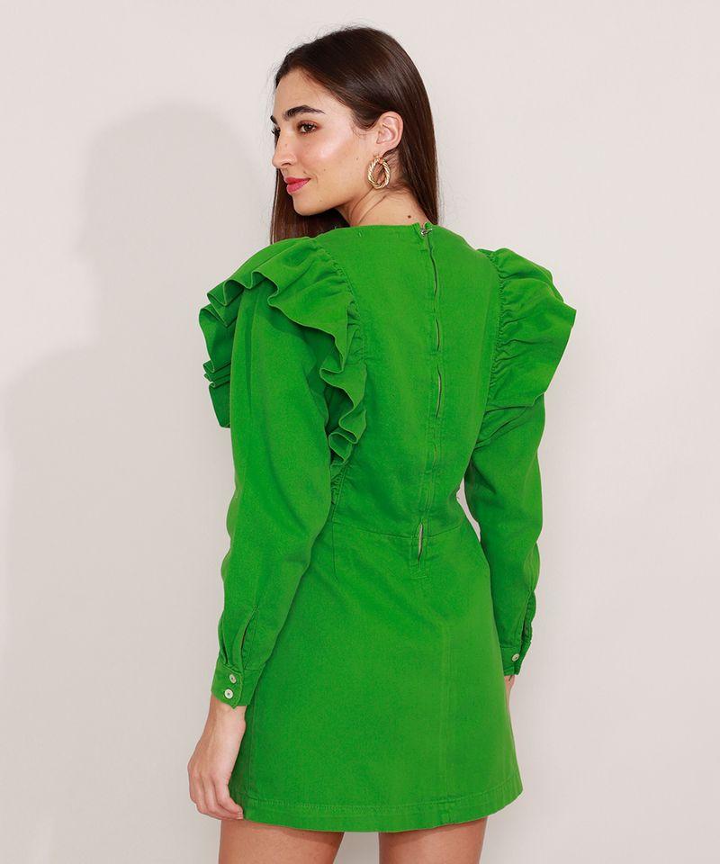 Vestido-de-Sarja-com-Babado-Curto-Manga-Longa-Mindset-Verde-9991491-Verde_2