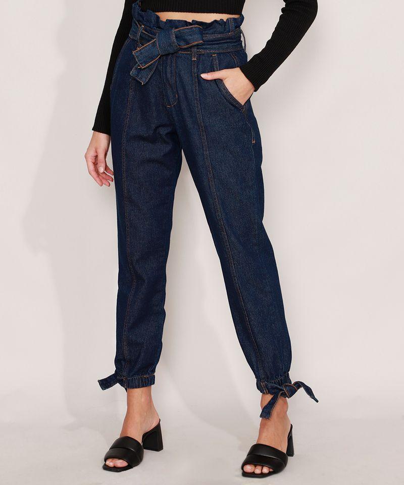 Calca-Clochard-Jogger-Jeans-com-Recortes-e-Faixa-para-Amarrar-Cintura-Super-Alta-Azul-Escuro-9985905-Azul_Escuro_1