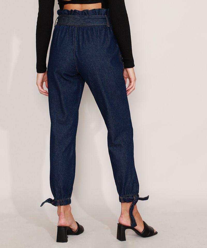 Calca-Clochard-Jogger-Jeans-com-Recortes-e-Faixa-para-Amarrar-Cintura-Super-Alta-Azul-Escuro-9985905-Azul_Escuro_2