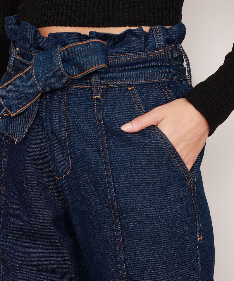 Calca-Clochard-Jogger-Jeans-com-Recortes-e-Faixa-para-Amarrar-Cintura-Super-Alta-Azul-Escuro-9985905-Azul_Escuro_4