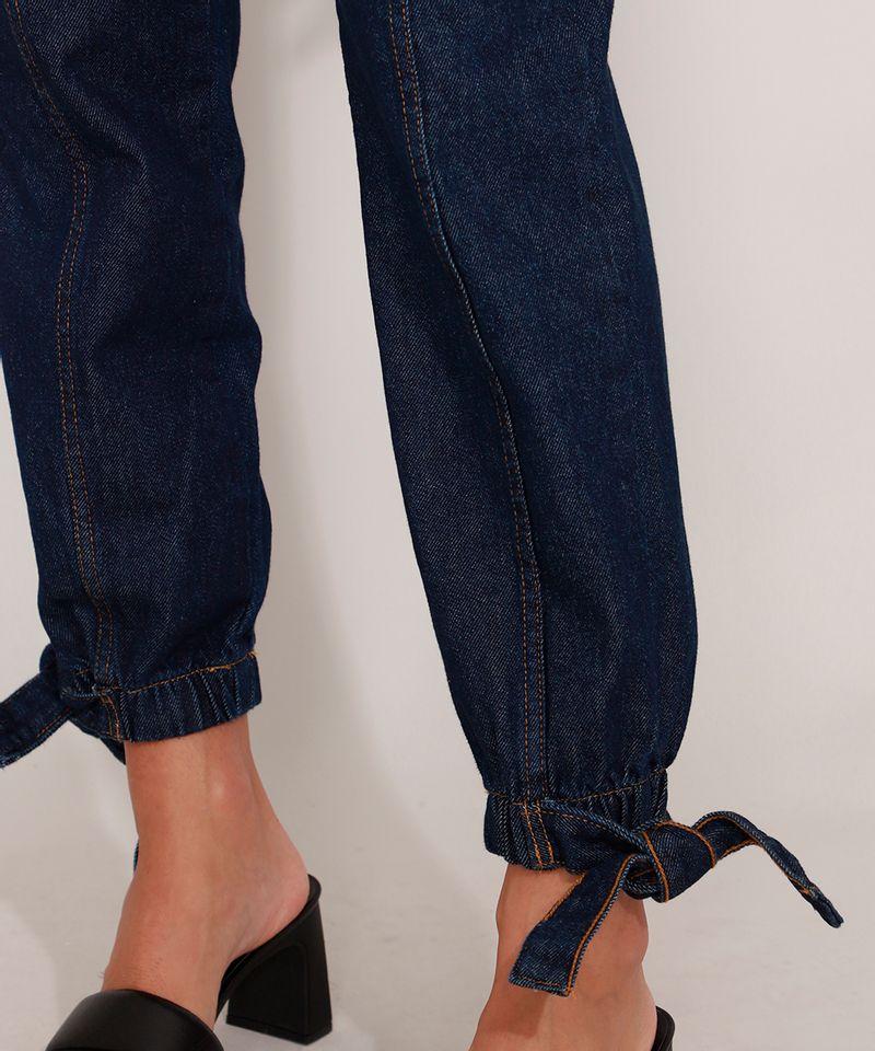 Calca-Clochard-Jogger-Jeans-com-Recortes-e-Faixa-para-Amarrar-Cintura-Super-Alta-Azul-Escuro-9985905-Azul_Escuro_5