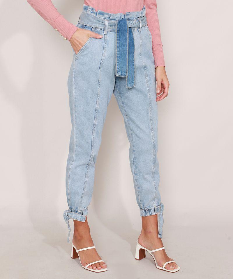 Calca-Clochard-Jogger-Jeans-com-Recortes-e-Faixa-para-Amarrar-Cintura-Super-Alta-Azul-Claro-9985904-Azul_Claro_1