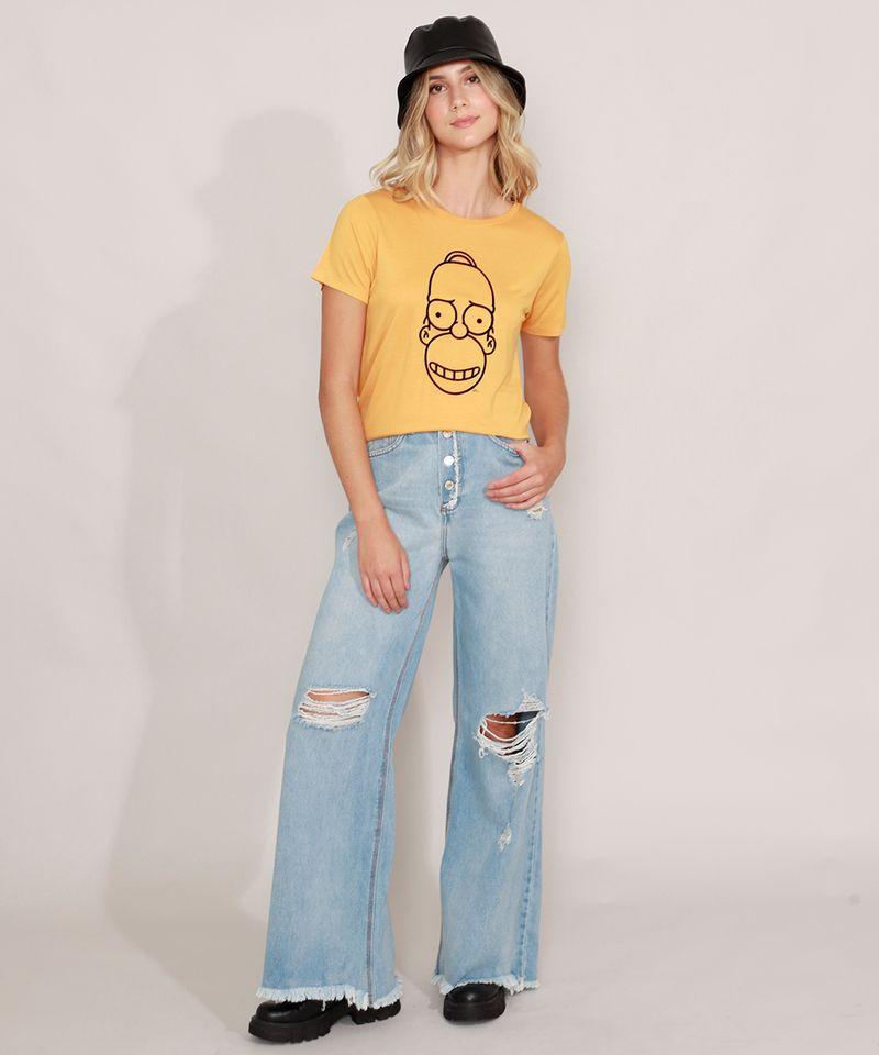 Camiseta-Homer-Simpson-Manga-Curta-Decote-Redondo-Mostarda-9981498-Mostarda_3