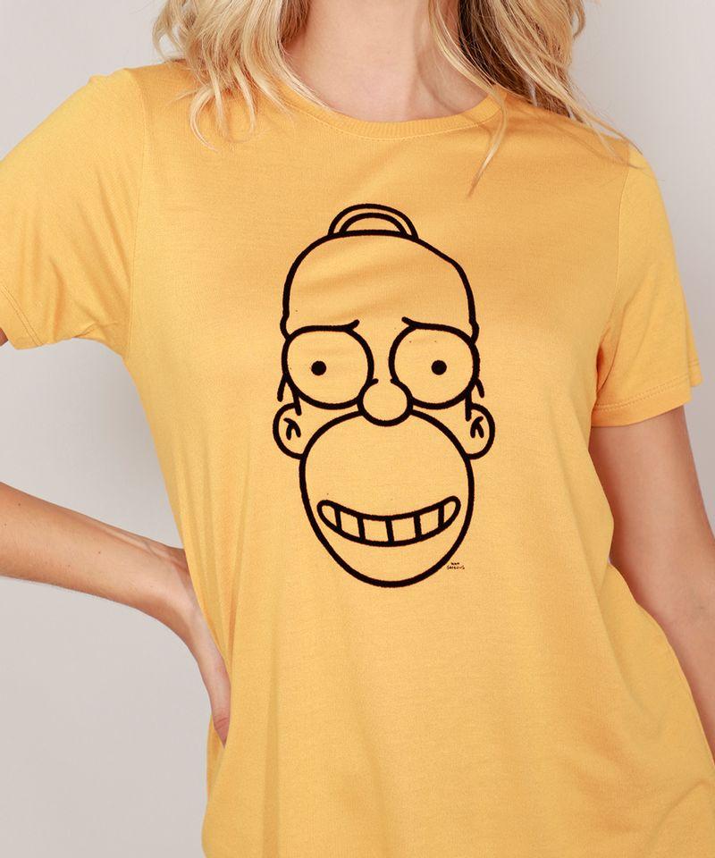 Camiseta-Homer-Simpson-Manga-Curta-Decote-Redondo-Mostarda-9981498-Mostarda_6