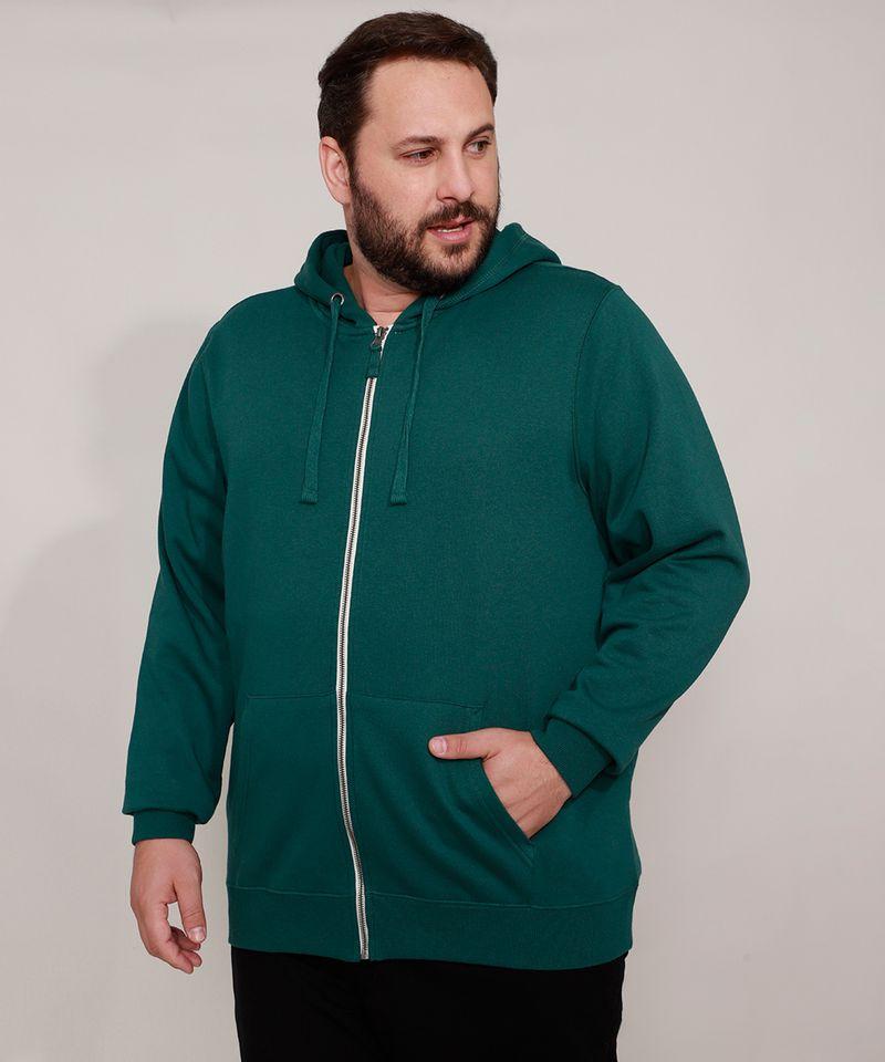 Blusao-de-Moletom-Plus-Size-Basico-com-Capuz-e-Bolsos-Verde-Escuro-9973144-Verde_Escuro_1