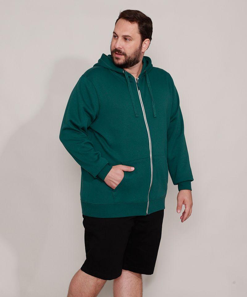 Blusao-de-Moletom-Plus-Size-Basico-com-Capuz-e-Bolsos-Verde-Escuro-9973144-Verde_Escuro_3