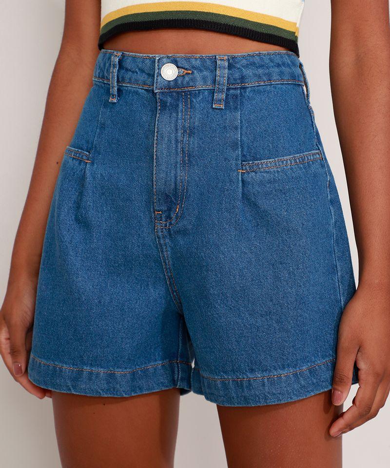 Bermuda-Jeans-Cintura-Super-Alta-com-Prega-Azul-Escuro-9991272-Azul_Escuro_1